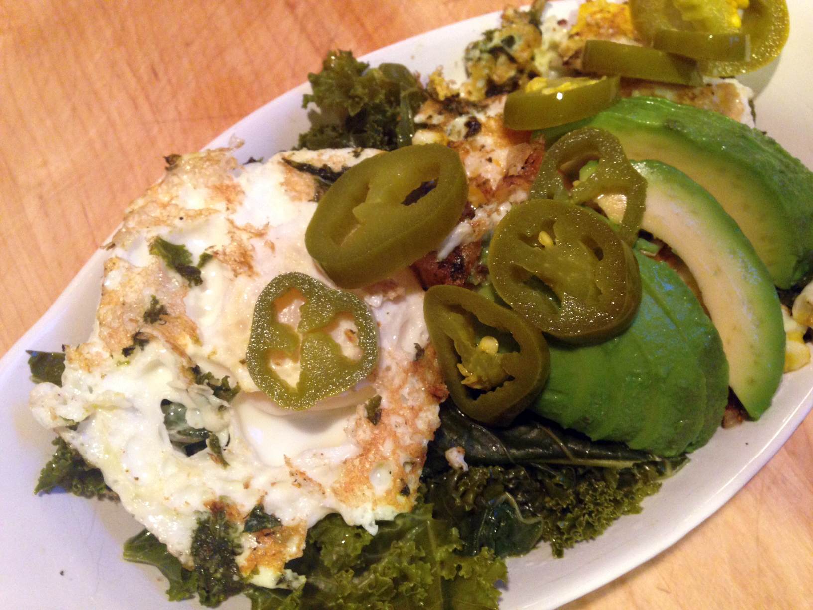 Greens and eggs.