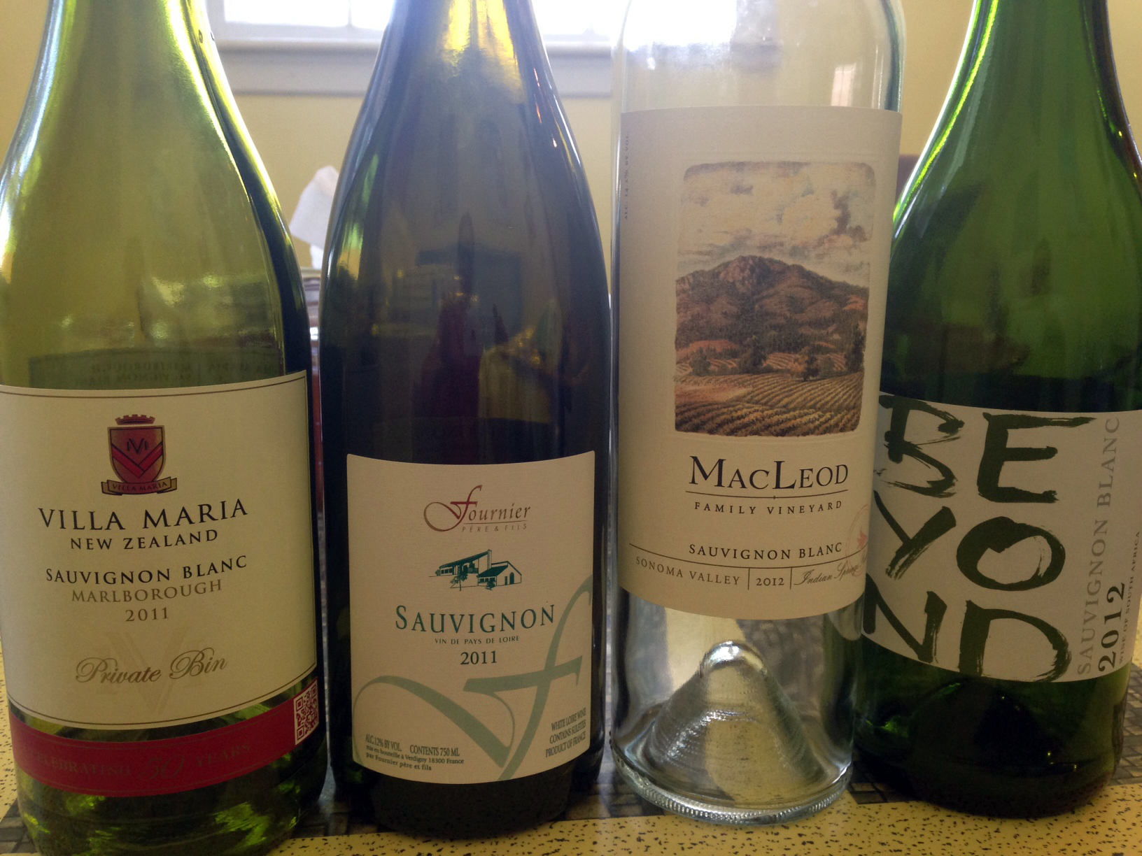 We blind-tasted SB from New Zealand, France (Loire), Sonoma, and South Africa.