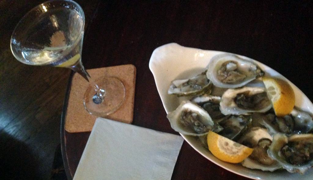 Birthday apps: gems from Matunuck and a martini made with The Botanist, a gin from Scotland.