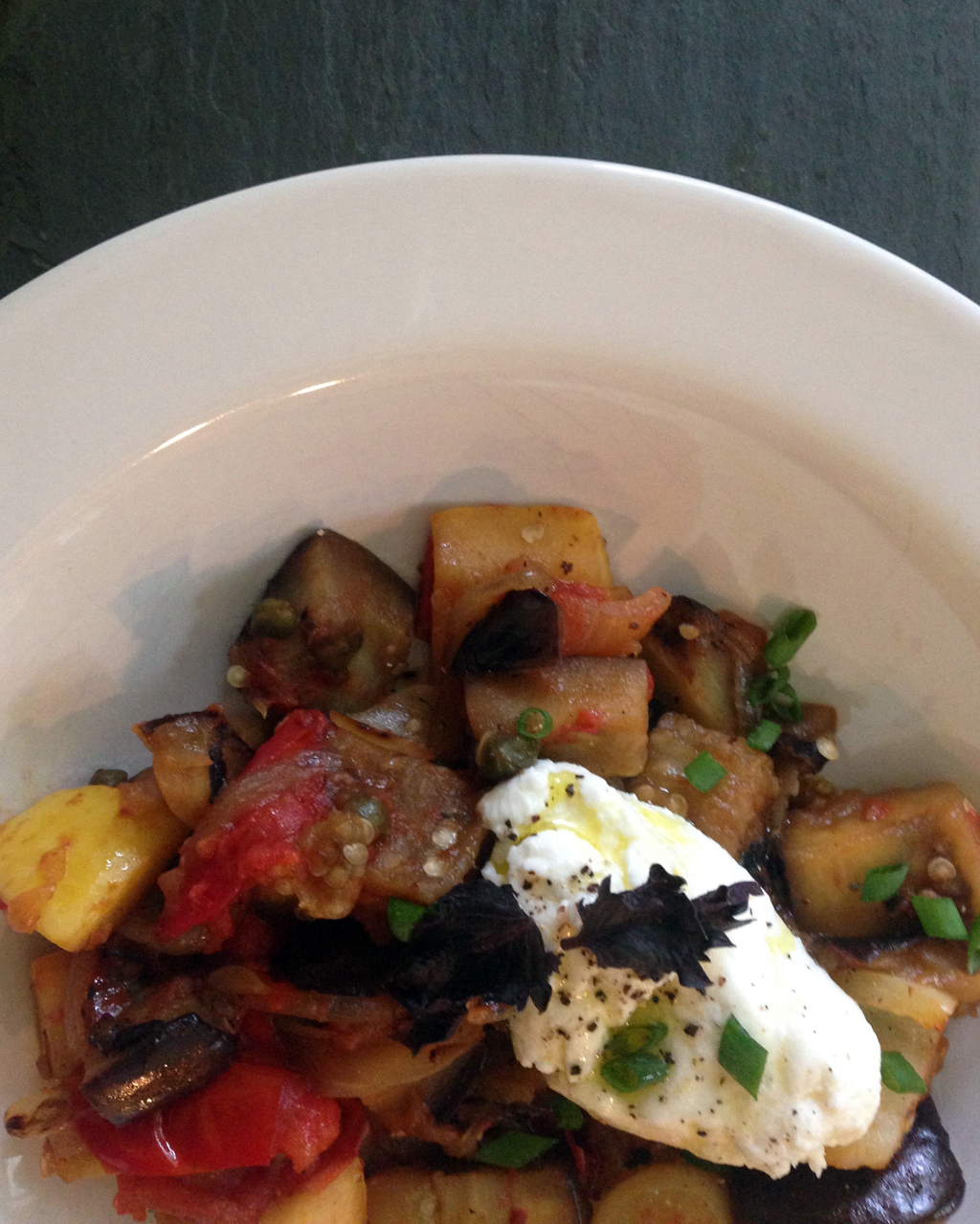 Ratatouille with ricotta.