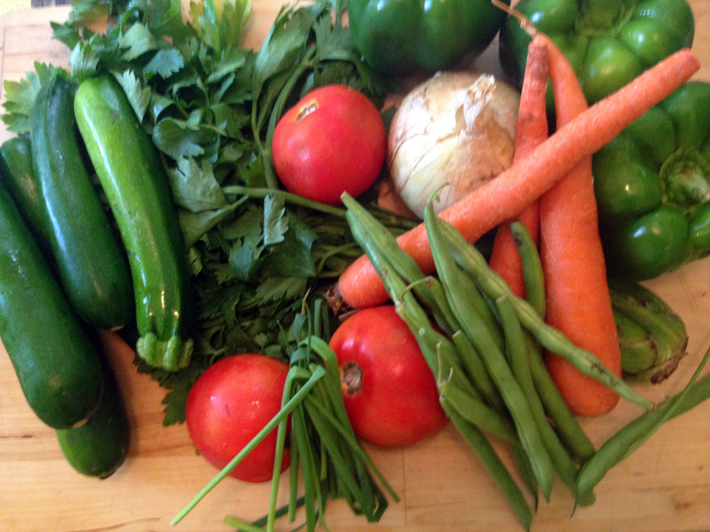 Zucchini, tomatoes, green beans, carrots, celery, onion, and chives.