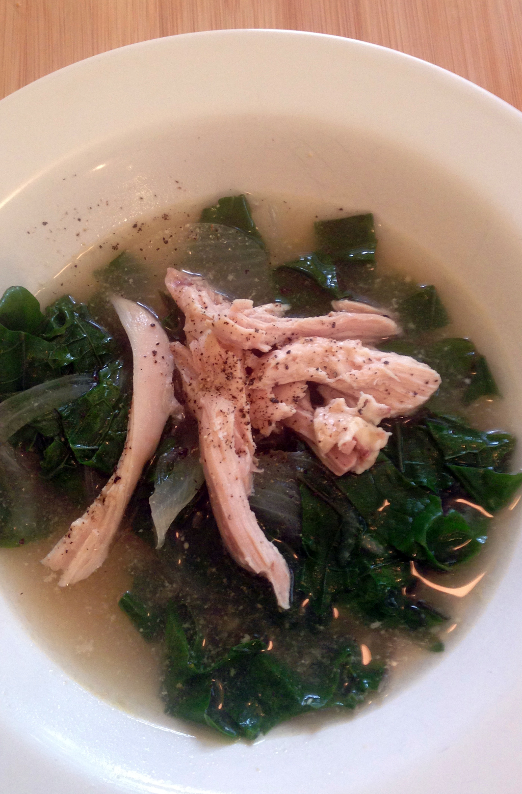 Chicken soup with kale.