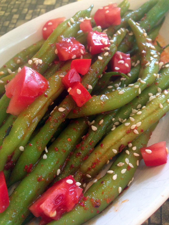 Green bean salad with kimchi vinaigrette.