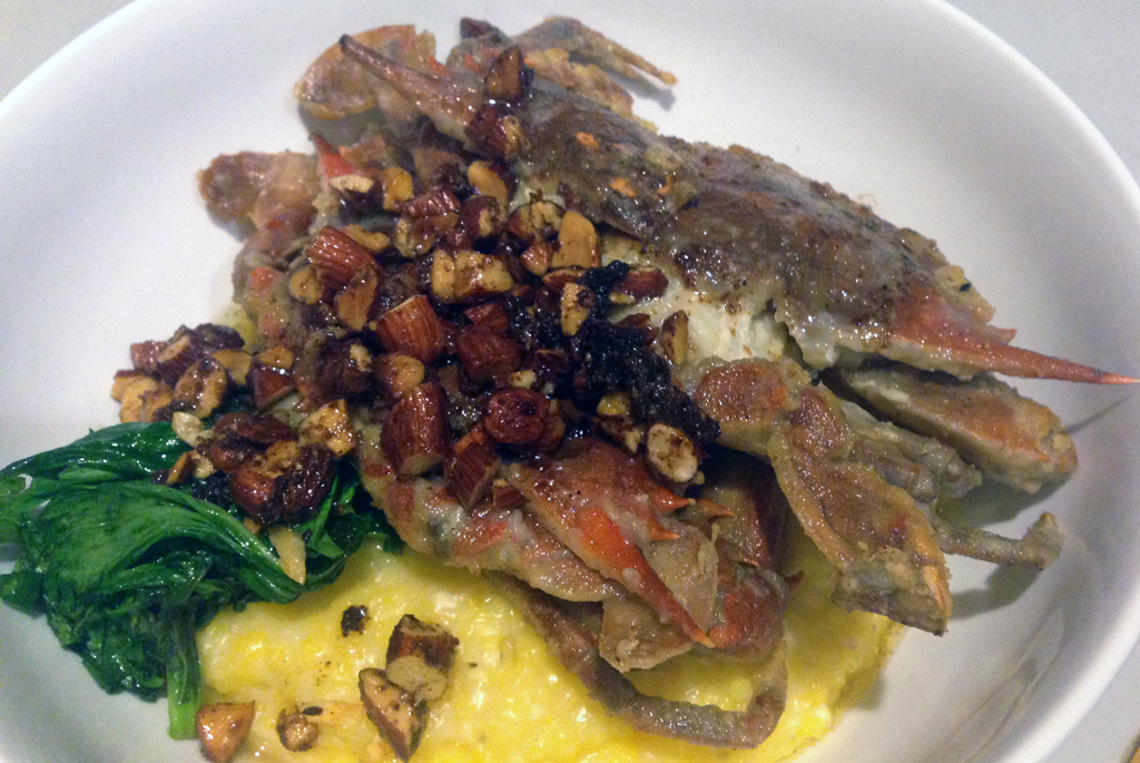 Soft shell crabs with smoky almonds, Anson Mills grits, arugula.
