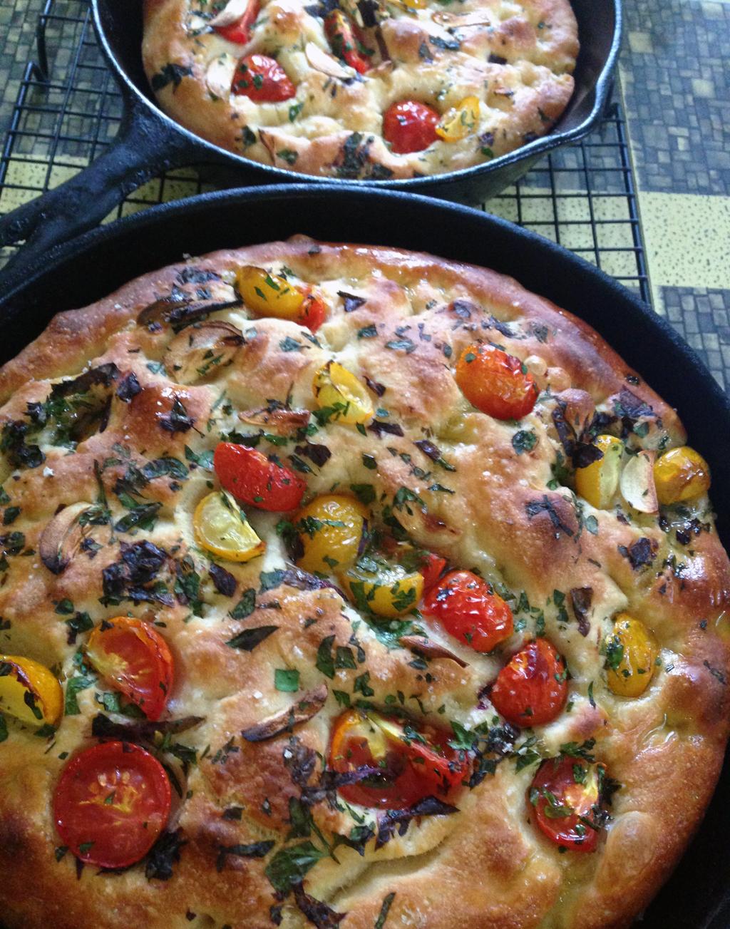 Herb and tomato focaccia.
