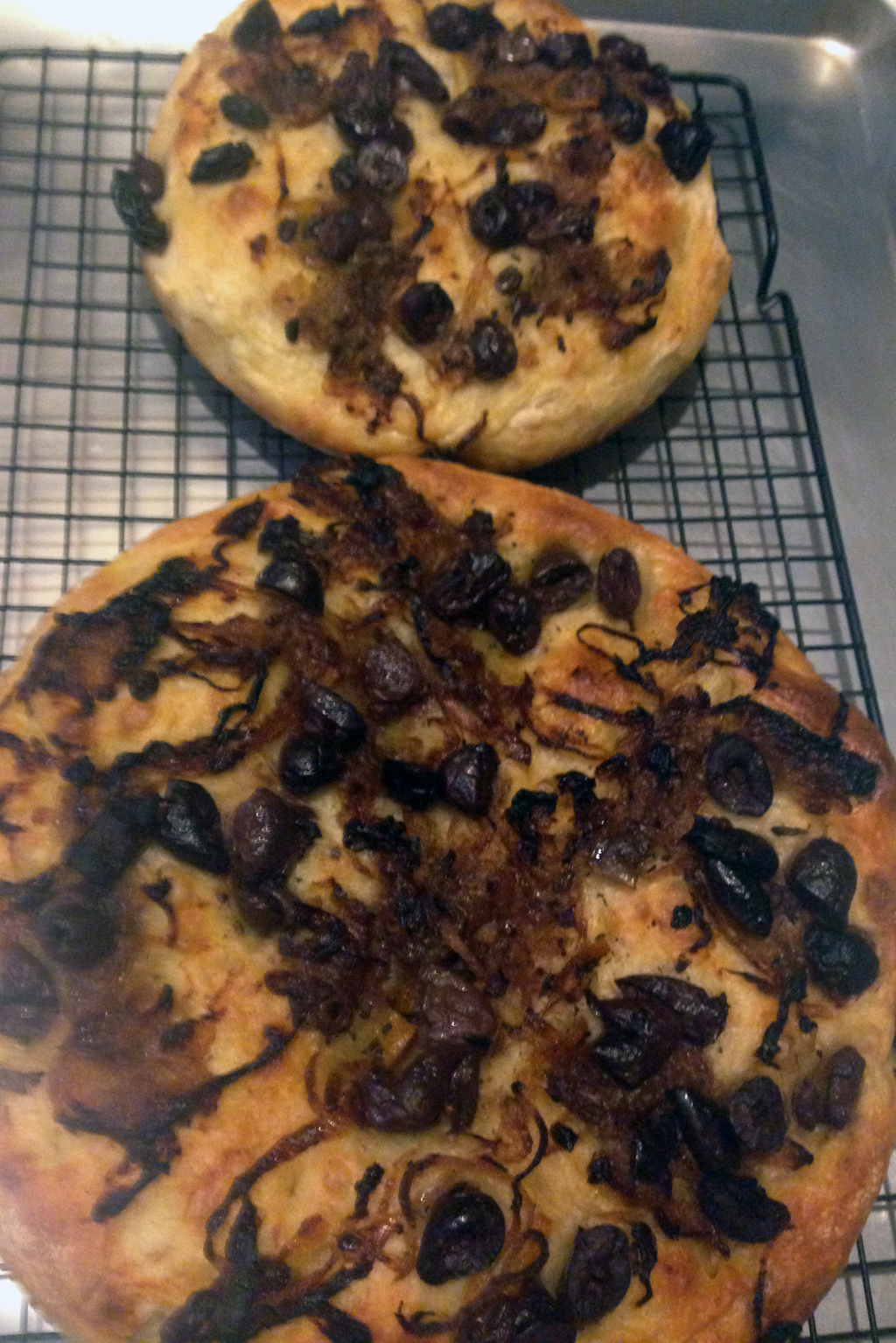 Black olive and caramelized onion focaccia.