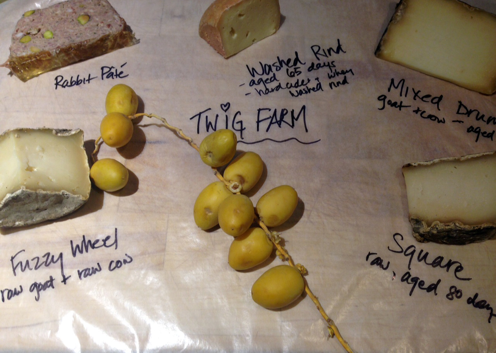Four types of goat-y goodness: the Twig Farm line-up, plus some fresh dates, and a slab of rabbit pate from Formaggio.