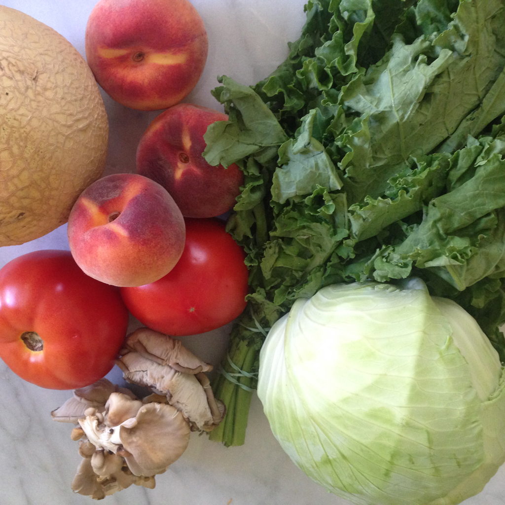 Melon, tomatoes, peaches, mushrooms, kale, cabbage.