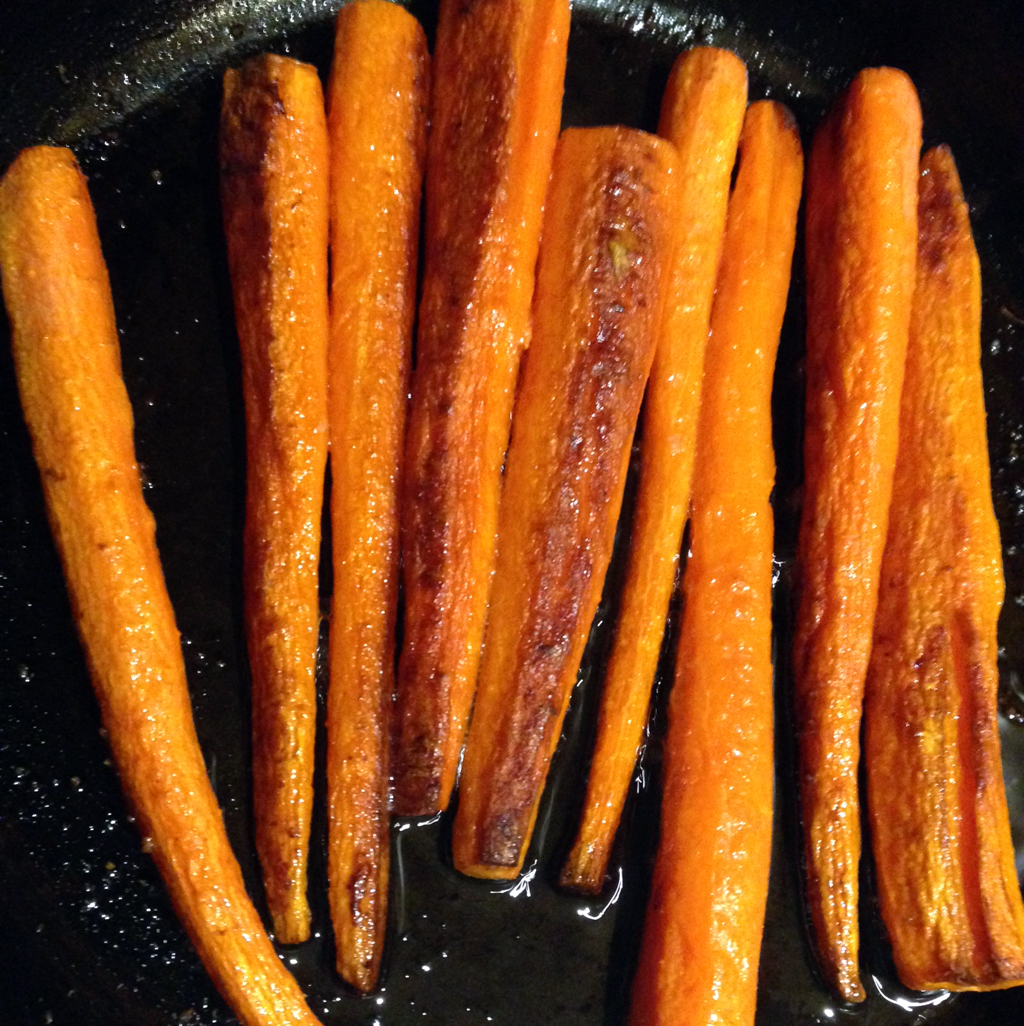 Carrots roasted in duck fat.