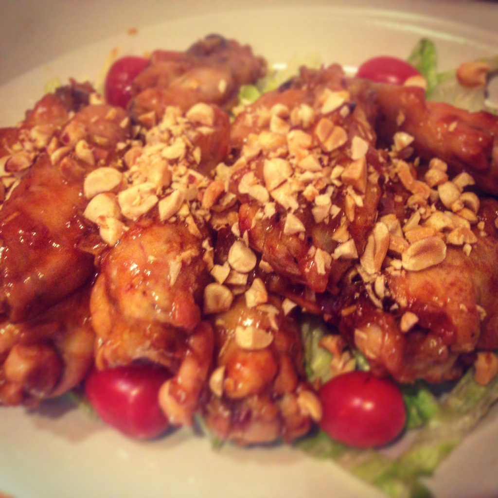 Korean chicken wings: sticky, sweet, and spicy.
