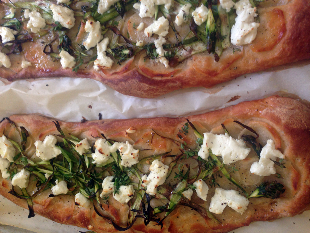 truffled potato sourdough flatbread with shaved asparagus, thyme, and goat cheese