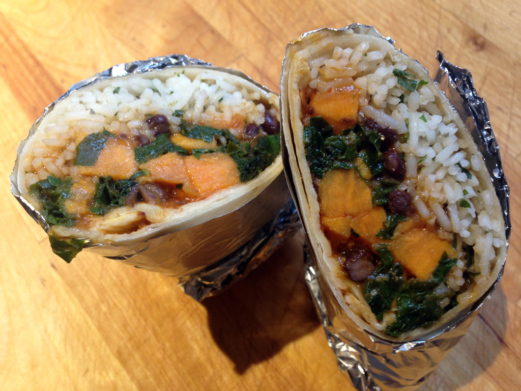 sweet potato, black bean, and Swiss chard burrito with lime-cilantro rice