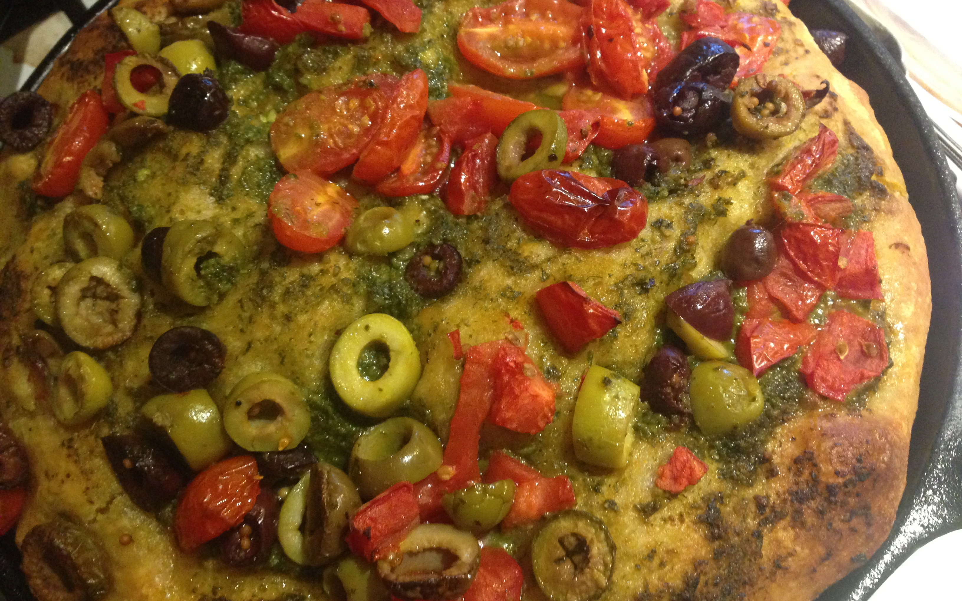 Focaccia with arugula pesto and other stuff.