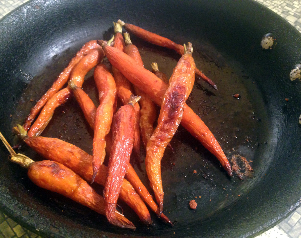 Carrots roasted in beef fat.