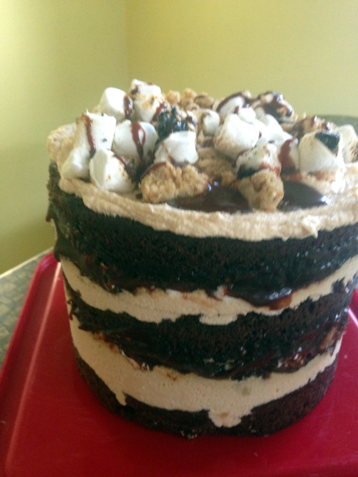 Chocolate malt, peanut butter, and marshmallow cake.