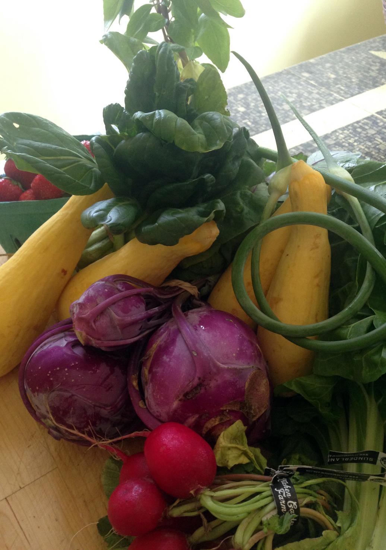 Strawberries, squash, basil, kohlrabi, radishes, kale, garlic scapes.