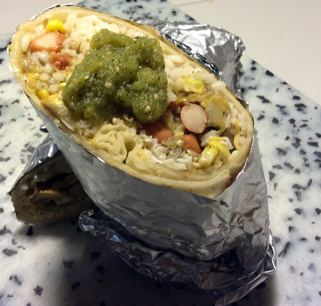 Squash, corn, and bean burrito with tomatillo salsa.