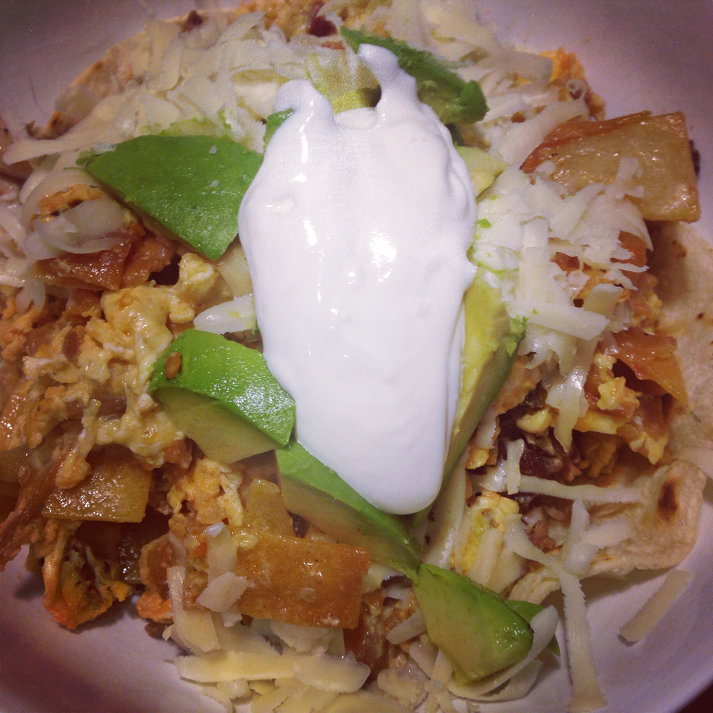 Migas, with a decadent dollop of sour cream. Delicious even without a hangover.