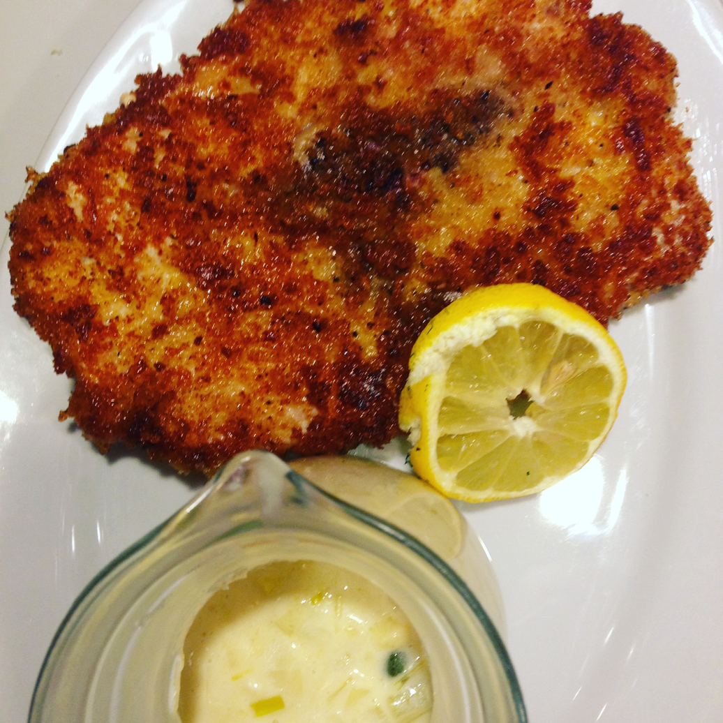 Pork schnitzel with creamy leek sauce.