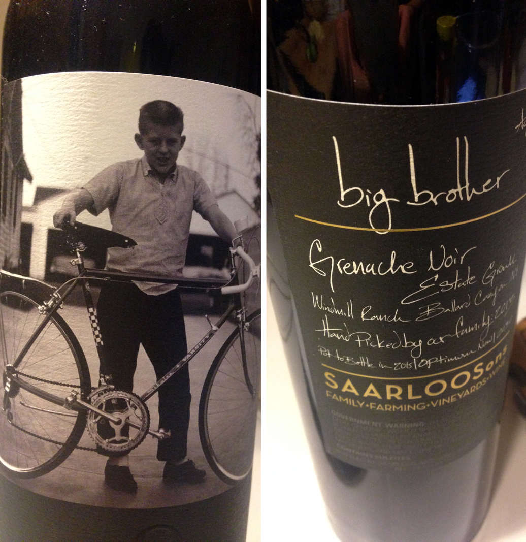 A muscular 100% grenache from Saarloos Sons: the big brother. Please visit their tasting room if you are ever in Los Olivos.