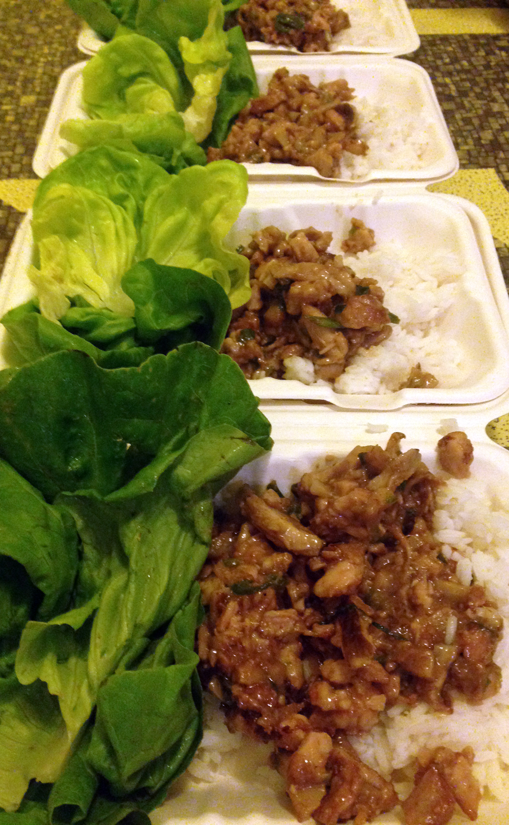 PF Changs-ish lettuce wraps with chicken and mushrooms.