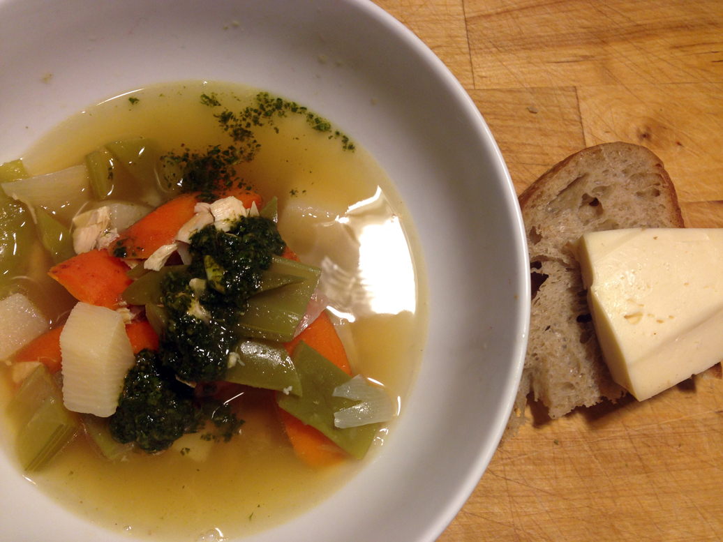 Chicken and vegetable soup with cilantro mojo. A tiny slice of bread and an obscenely large hunk of Twig Farm washed rind on the side.