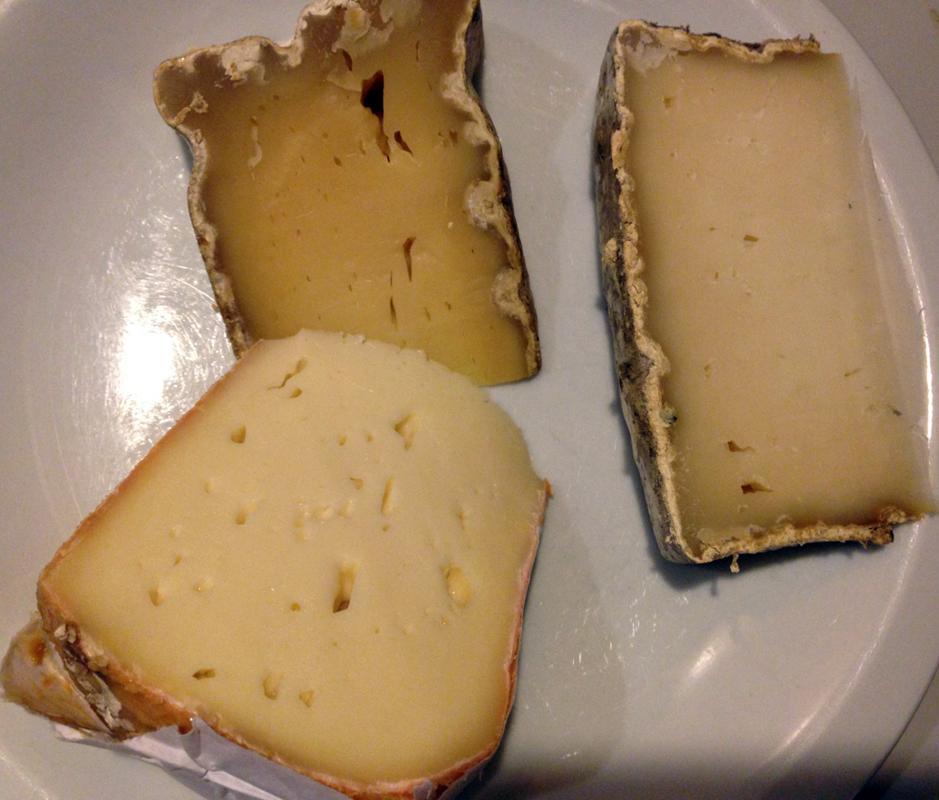Twig Farm triplet: square, tomme, and washed rind.