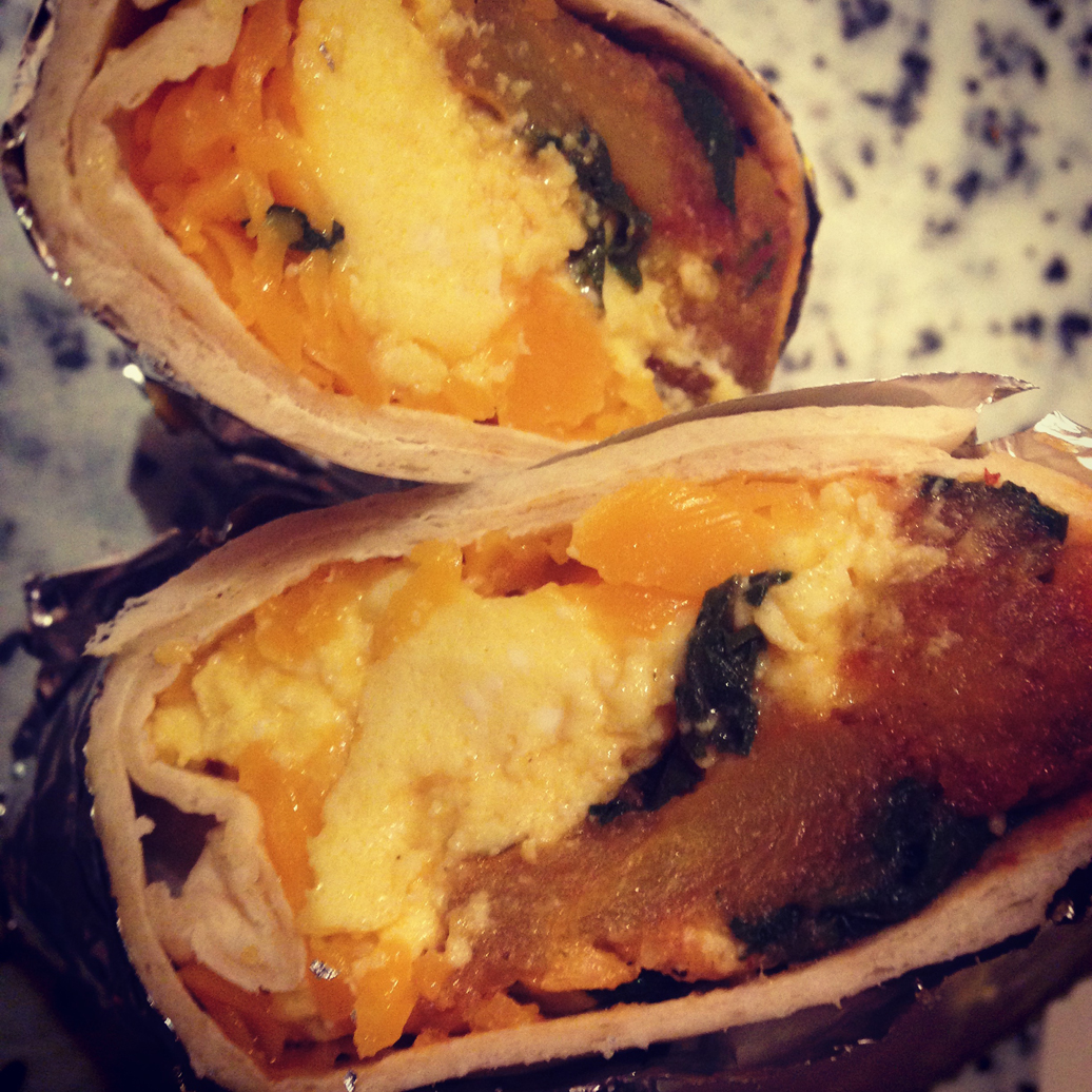Breakfast burritos: roasted squash, sauteed chard, eggs, and cheese.