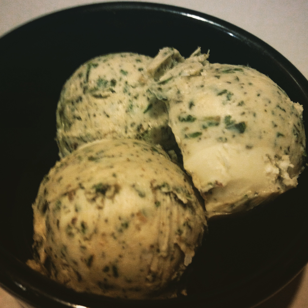 Herb butter with roasted garlic.