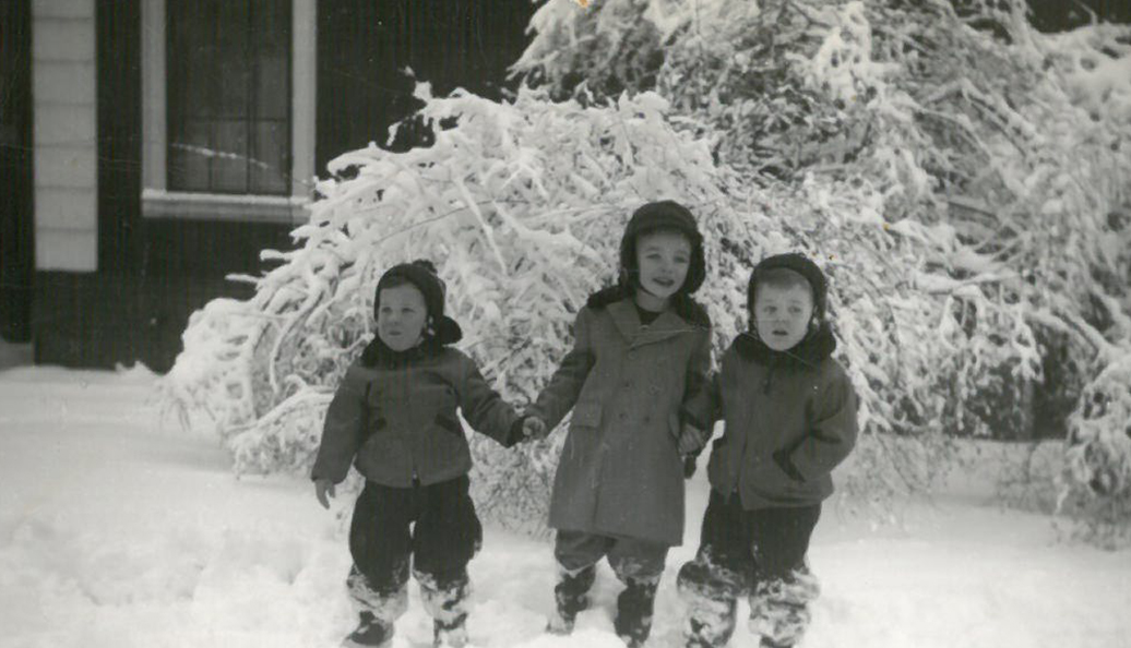 Cousins in the snow. Mike is the tall one.