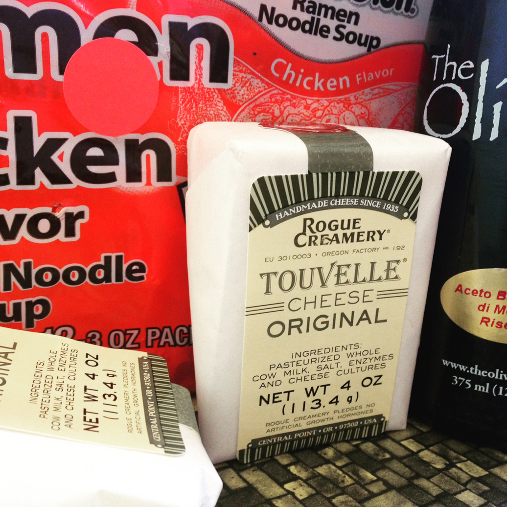 Treasure trove! Chicken ramen, yummy cheese, and a luxurious bottle of balsamic vinegar.