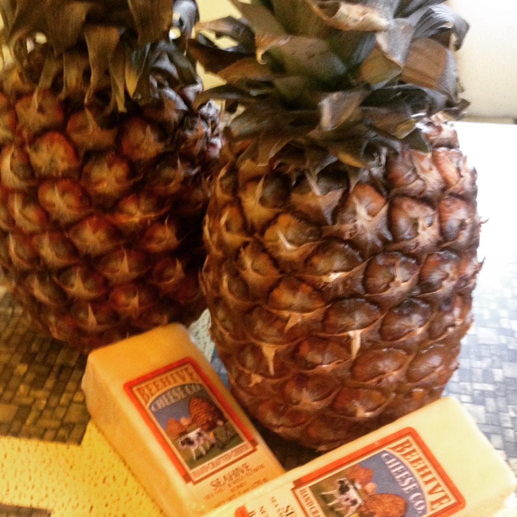Two gorgeously ripe pineapples and delicious wedges of cheese flavored with honey and sea salt.
